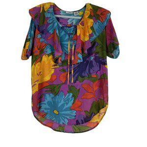 Gitano Vintage Colorful Floral Top With Ruffled Ne